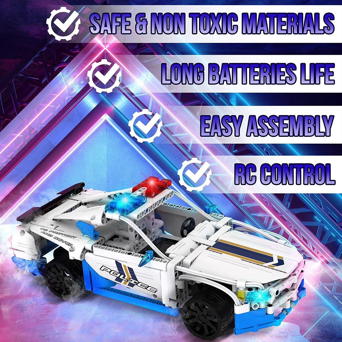 Wrope Creative Model Cars Kits to Build STEM Car Building Kit 430 Pcs - Remote Control Police Car STEM Toys for Boys and Girls - RC Car Building Set - Ideal Construction Building Toys Gift