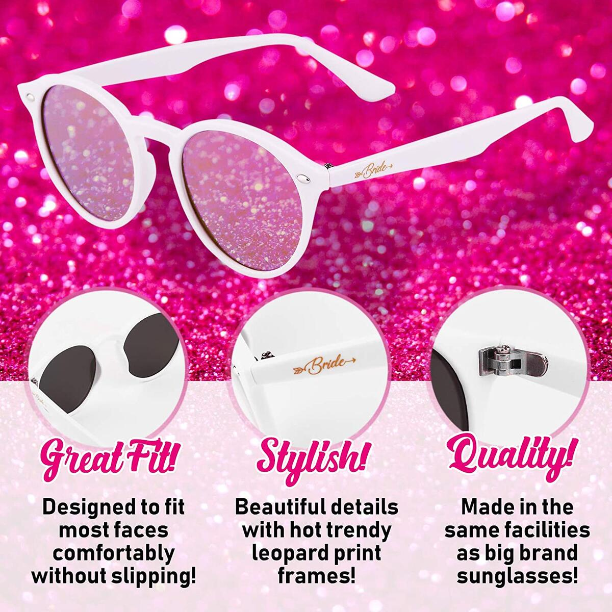 Bachelorette Party Sunglasses Bride Tribe Rose Gold Lens Glasses, Bridal Shower Gift and Favors - Instagram Bachelorette Party Decorations/Supplies (7 Pack Set)