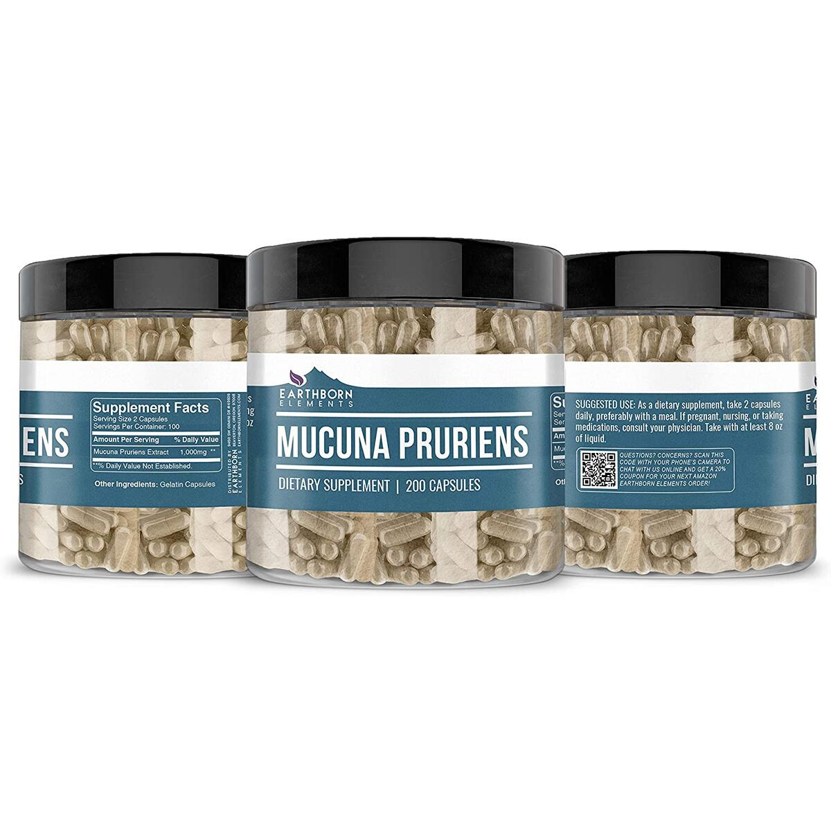 Mucuna Pruriens Extract, 200 Capsules, 1000 mg Serving, Non-GMO & Gluten-Free, No Additives or Fillers, Made in USA, Naturally Sourced & Potent by Earthborn Elements