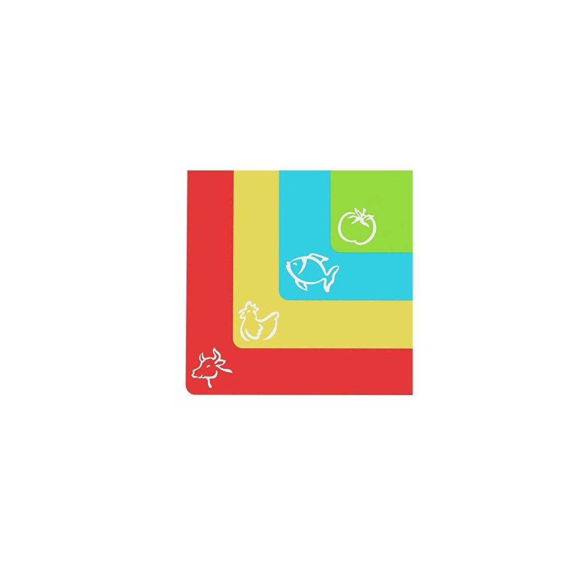 Cooler Kitchen Extra Thick Flexible Plastic Cutting Board Mats with Food Icons & EZ-Grip Waffle Back, (Set of 4)