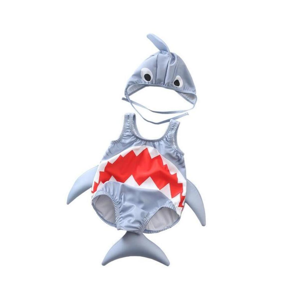 Kids Baby Boys Girls Shark Swimsuit Swimwear Rash Guard Costume Beachwear