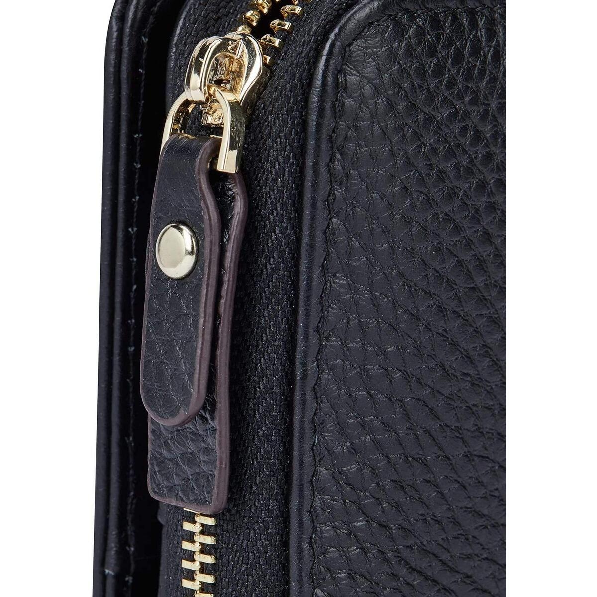LUCKYSGY Wallets for Women RFID Blocking Leather Bifold Small Wallet Zipper Purses Card Holder with ID Window 7053 Black