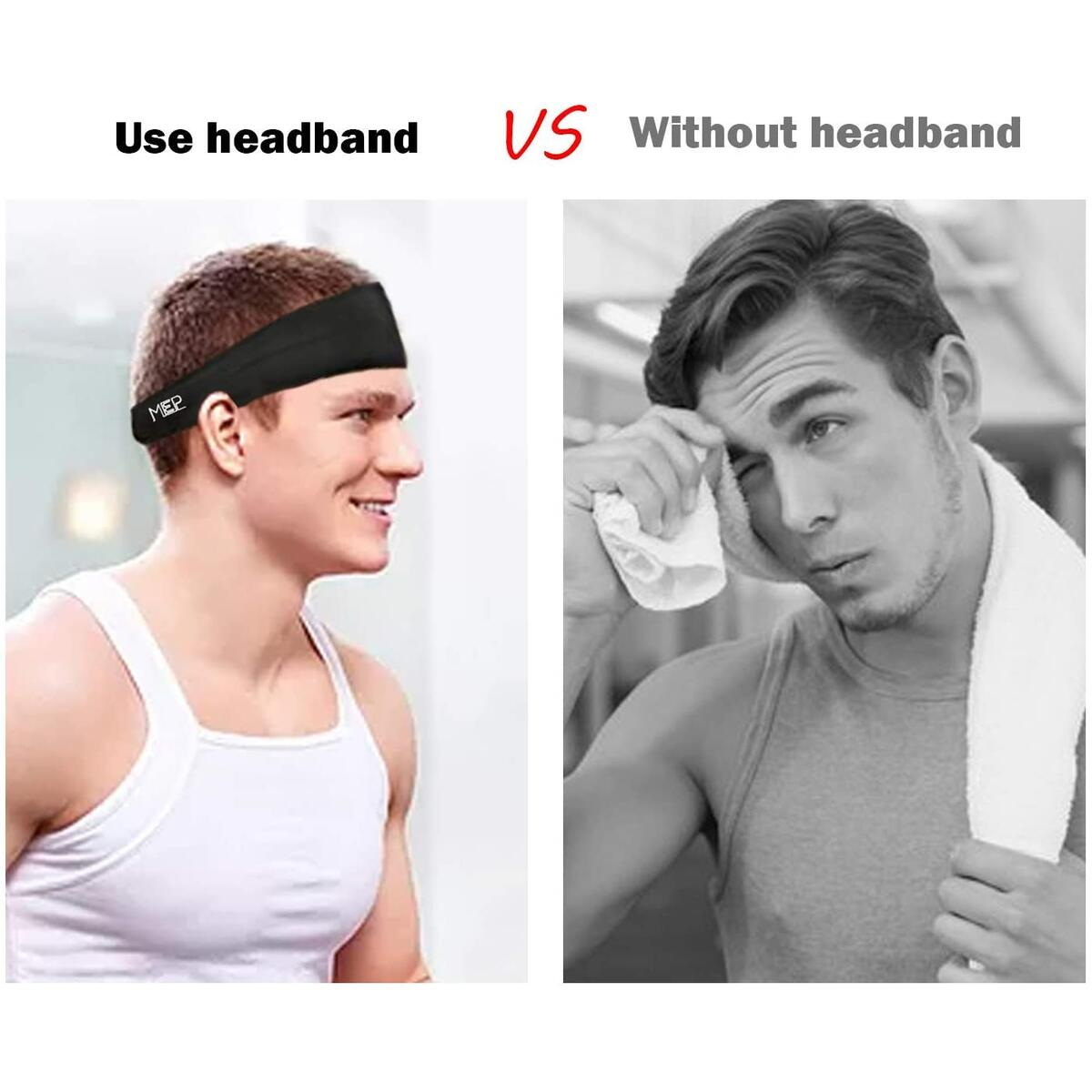 Mepakl Mens Headband Sweatband (4 Pack) - Stretchy Wide Sports Headband for Workout, Running, Yoga, Football, Tennis, Basketball - Athletic Sweat Head Bands Unisex