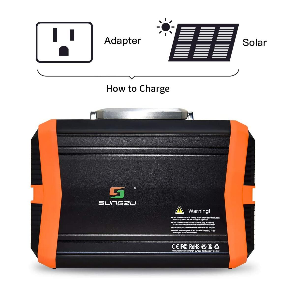 SUNGZU Portable Generators Solar Powered Station 300W Generator 11.1V/31.2Ah 350Wh CPAP Battery Pack Solar Panel Charged Power Supply for Camping Travel & Home Outages