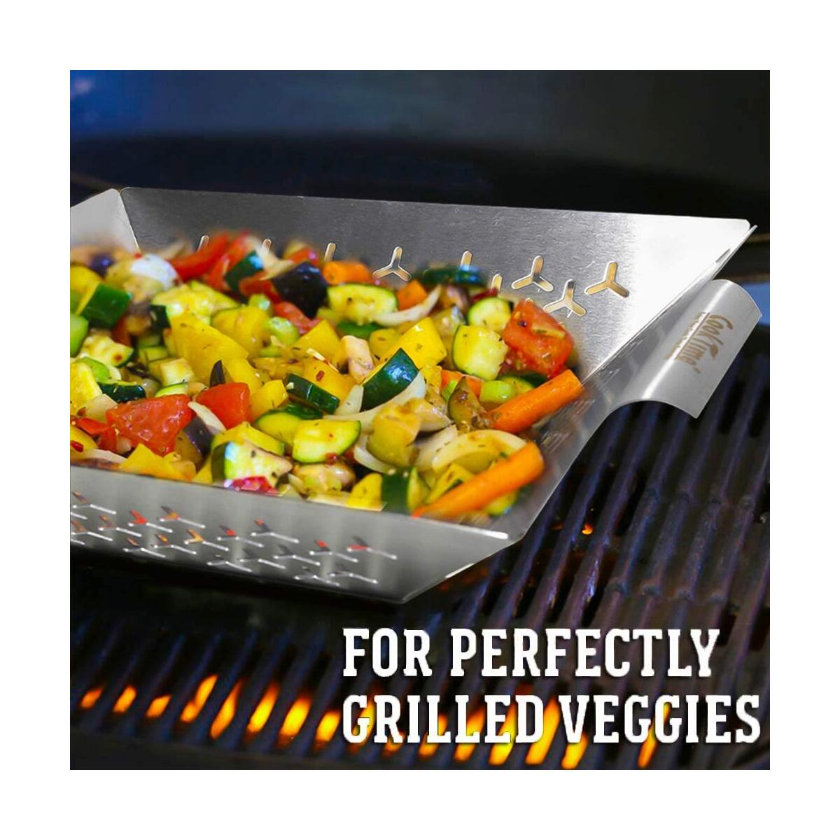 Cook Time BBQ Grill Vegetable Basket Stainless Steel Grilling Woks-Non Stick Large Veggie Barbecue Accessory for Outdoor Grill,Heavy Duty 1.5X Thicker,13.75X12X2.5inches