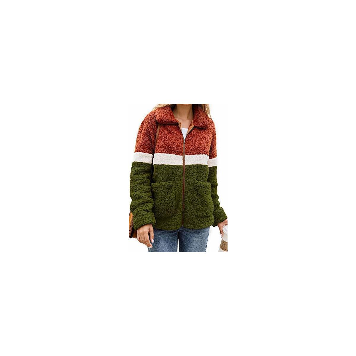 Womens Faux Fur Fleece Sherpa Fluffy Zipper Long Sleeve Open Front Coat Contrast Color Block Outwear with Pockets Army