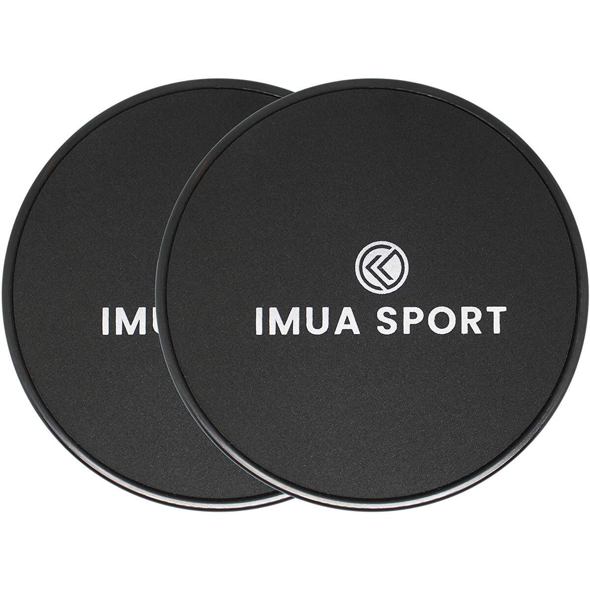 Imua Sport Core Sliders Dual-Sided Sliders for Working Out on Carpet and Hardwood Floors, Light and Compact - Workout Guide Included (2-Pack)