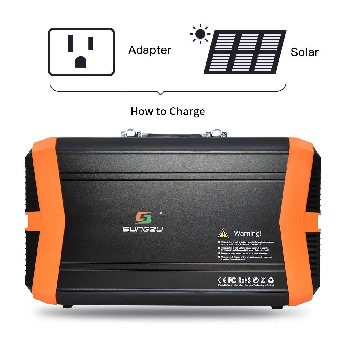 SUNGZU Portable Power Station 500W Power Supply, Generator for Outdoors Camping CPAP Power Outages Emergency (KA500)