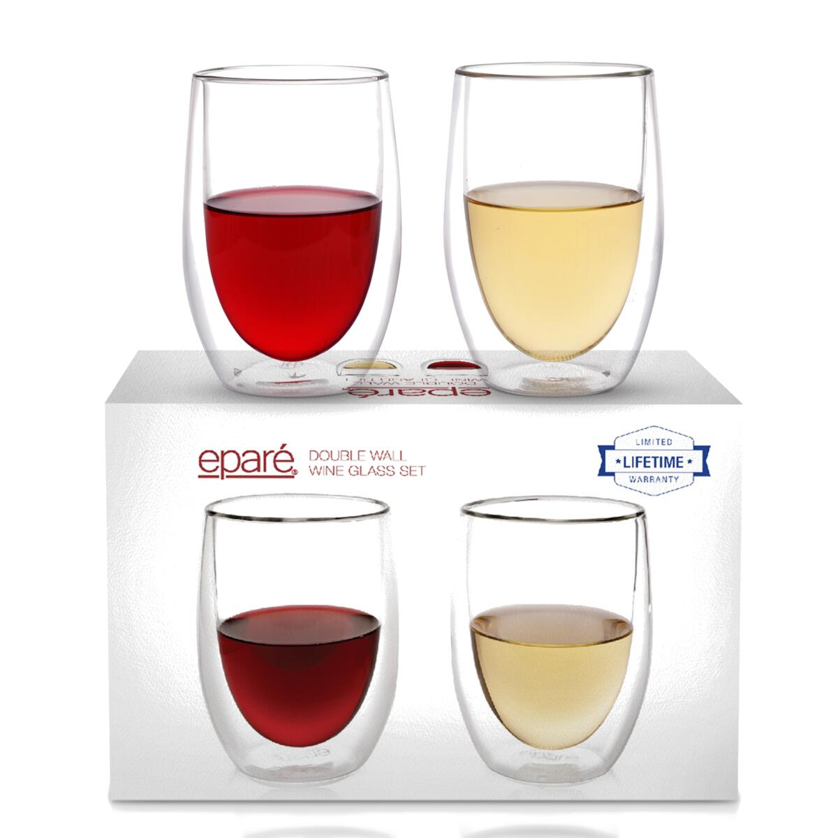 Eparé Double Wall Wine Glass (Set of 2), Set of 2