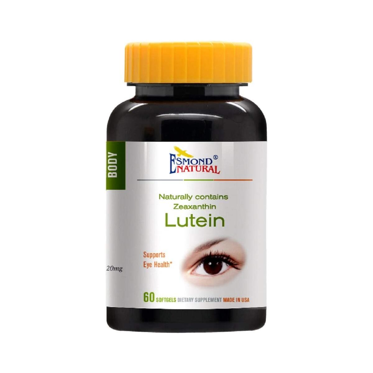 (3 Count, 10% Off) Esmond Natural: Lutein (Naturally Contains Zeaznthin, Supports Eye Health), GMP, Natural Product Assn Certified, Made in USA-20mg, 180 Softgels