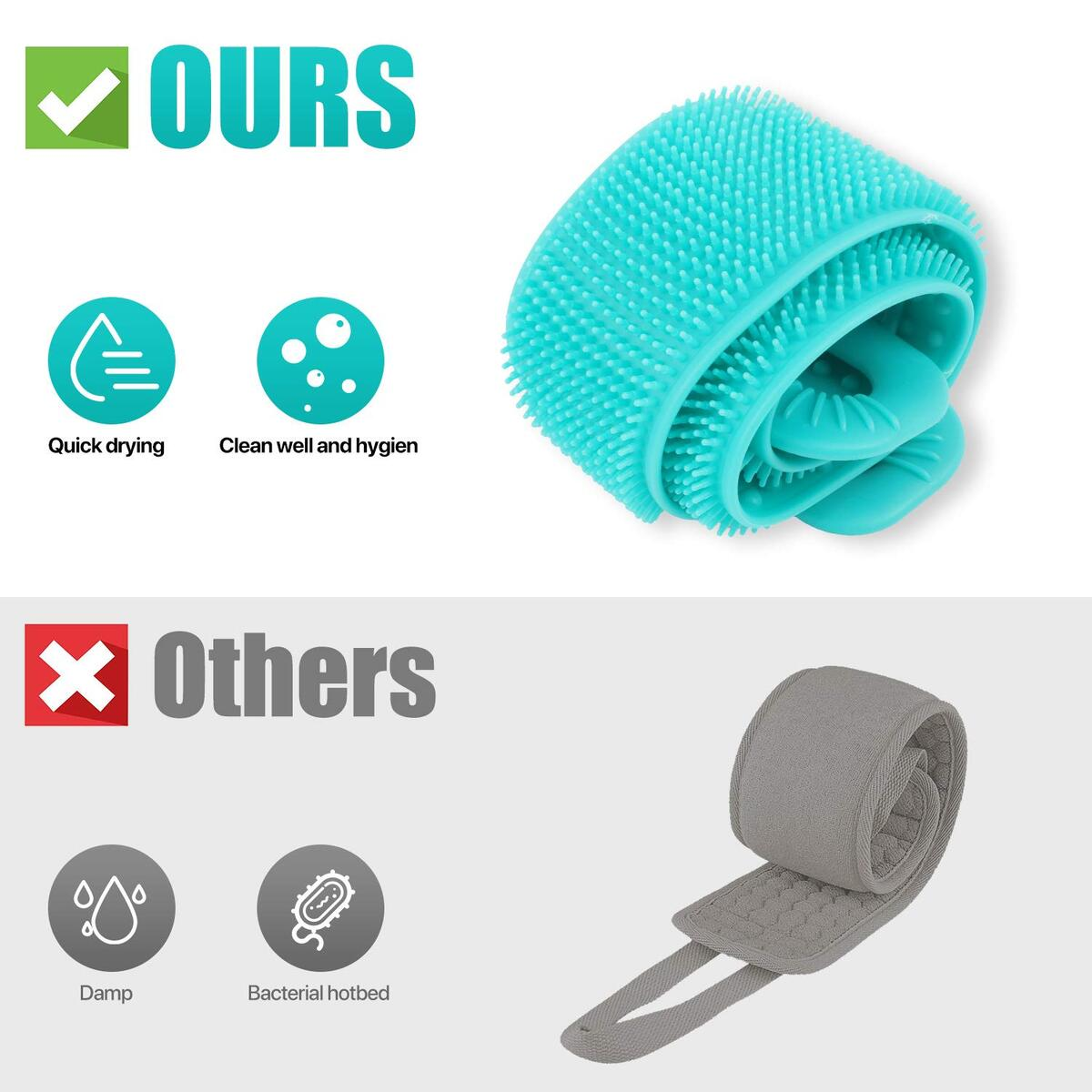 "Silicone Back Scrubber Bath Body Brush for Shower, Lengthen Dry Handle Exfoliator Gentle Shower Scrubber for Washer, Deep Clean Silicone Massage Skin Scrub Pad 30""(Green)"