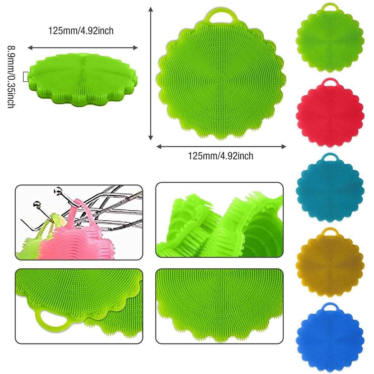 5pc Set Silicone Dish Sponge, Durable, Non Stick Cleaning Kitchen Brush, Perfect for your Dish, Pot, Pan, Bowl – Non-Abrasive Insulation Pad to Hold Hot Pans or For Bathing and Washing Face