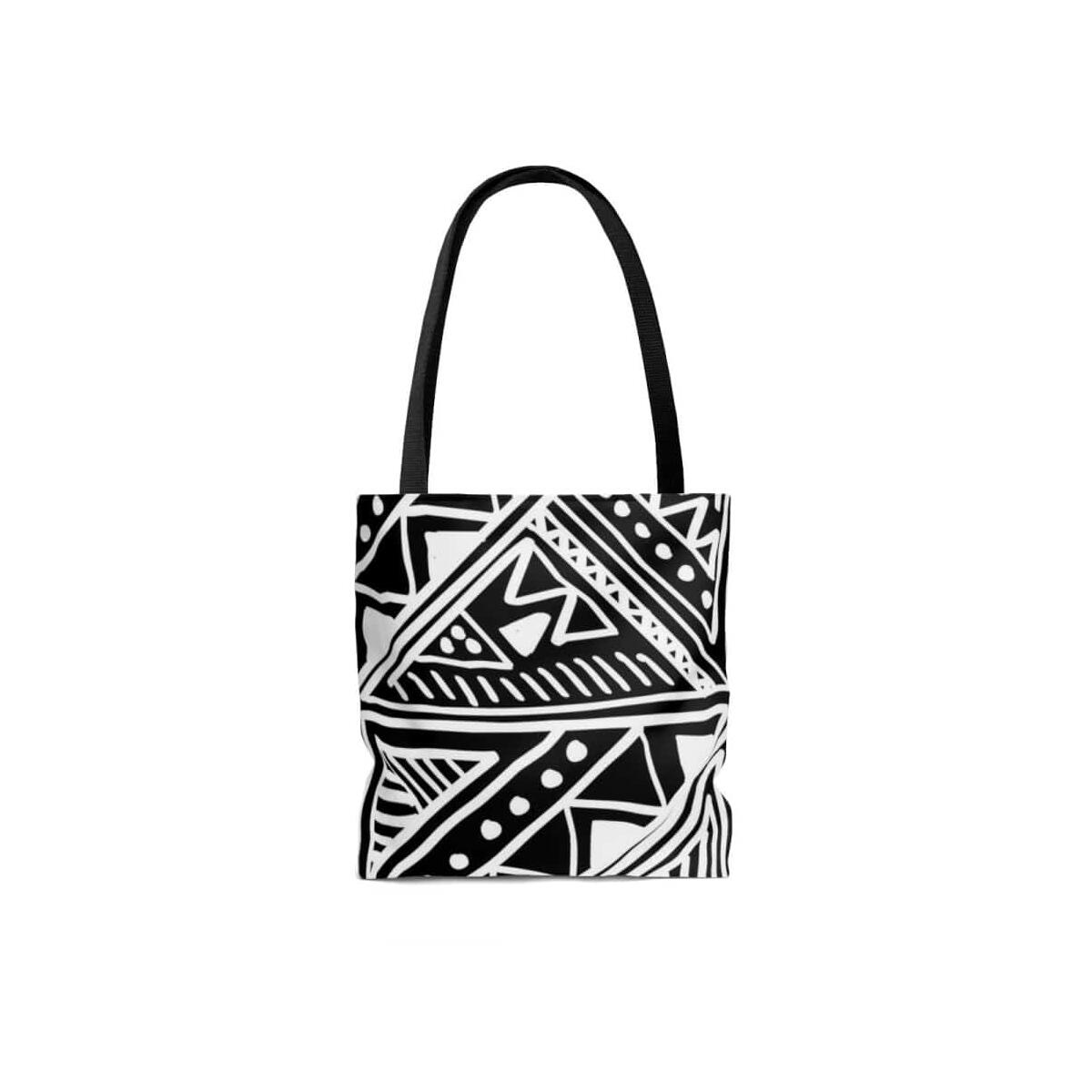 White Mudcloth African Tote Bag, Large