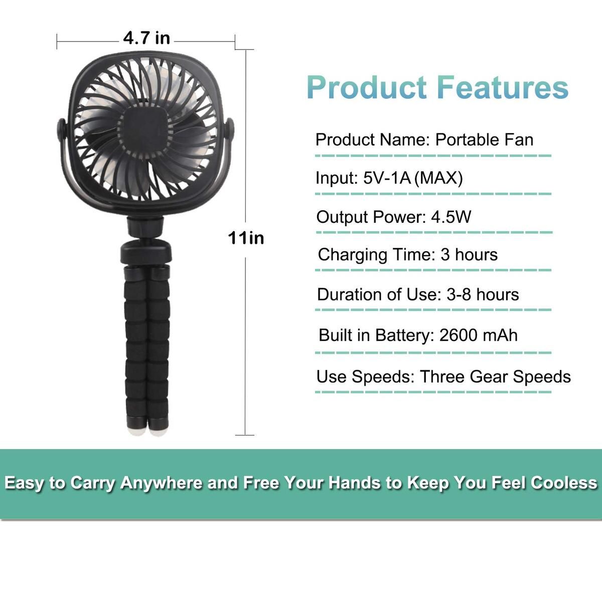 Stroller Fan,USB Battery Operated Rechargeable Fan,Small Personal Portable Handheld Flexible Tripod Clip On Baby Fan for Stroller,Carseat ,Mini Desk,Bike,Crib(Black)