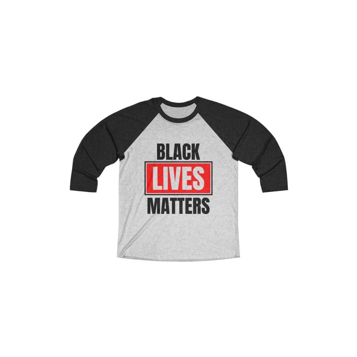 Afrocentric Black Lives Matters Tri-Blend Raglan Tee, Vintage Black / Heather White / XL