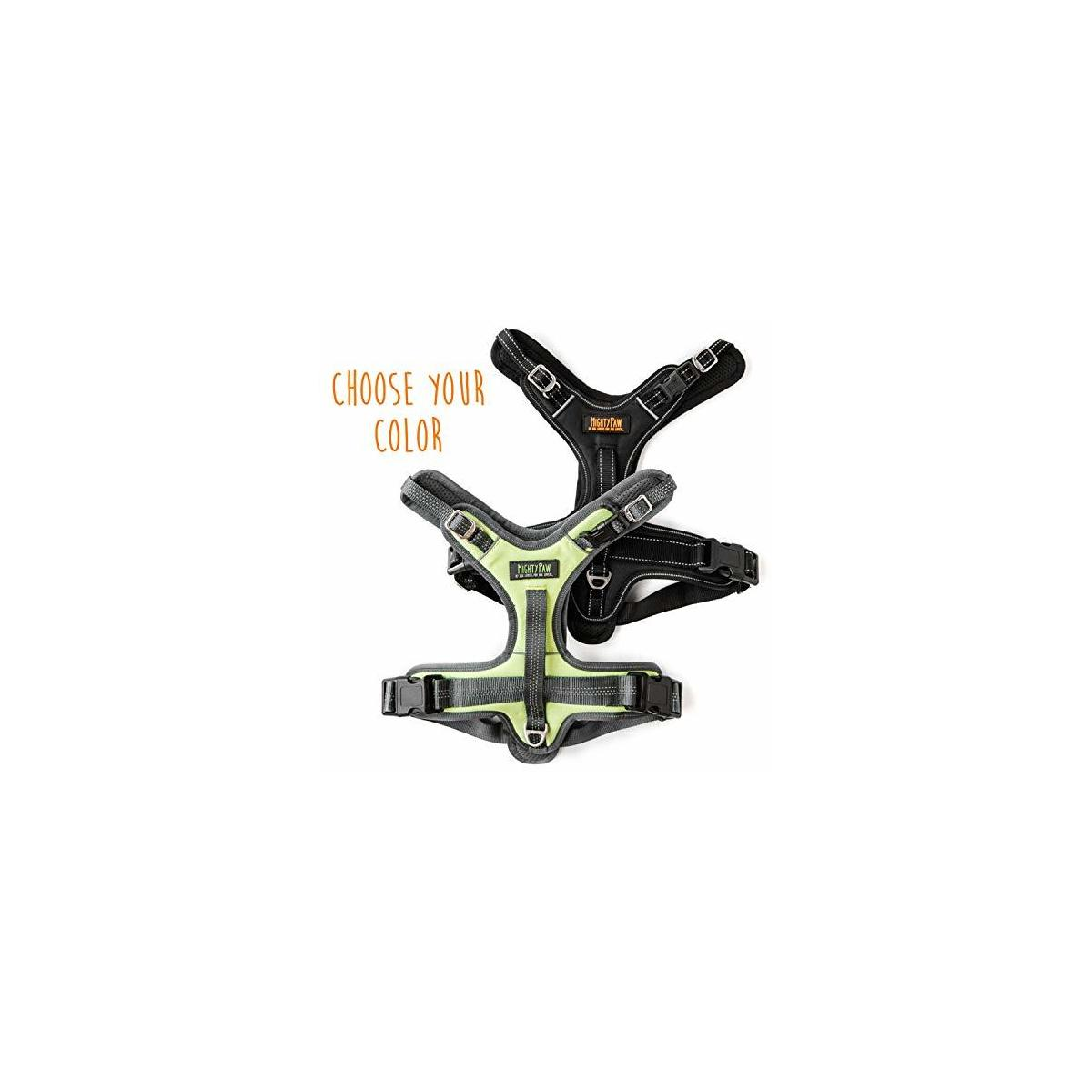 Mighty Paw Dog Sport Harness | No Pull Harnesses with Two Leash Attachments, Comfortable Neoprene Padded Lining, Reflective Safety Stitching. Fully Adjustable for a for Large or Small Pets