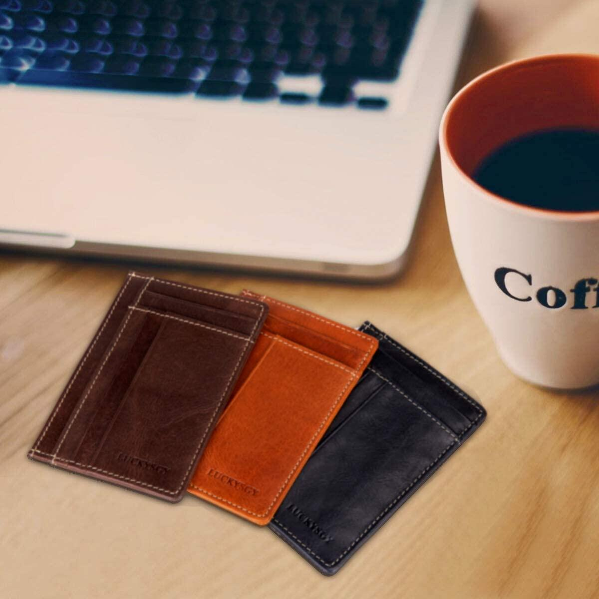 Minimalist Wallets for Men RFID Business Card Holder Retro Leather Slim Credit Card Case Front Pocket Travel Wallet