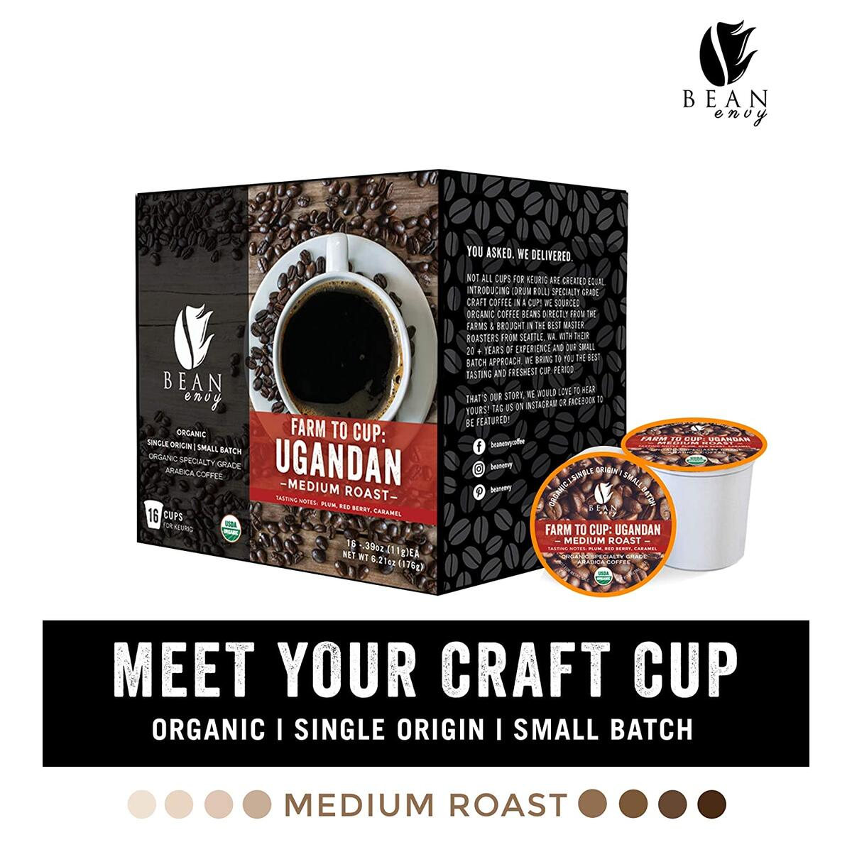 Bean Envy Organic Single Serve Coffee Pods - Fair Trade, Specialty Grade, Small Batch, Medium Roast- Compatible With Keurig Brewers - Ugandan (16ct)