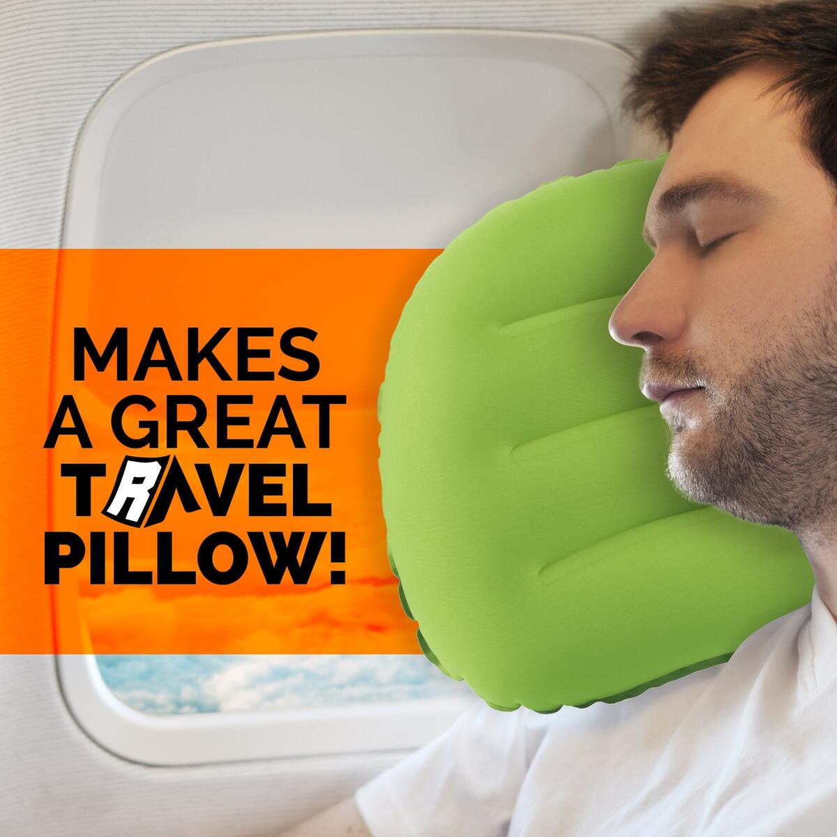 Camping Pillow - Ultralight Inflatable Travel Pillows, Orange
