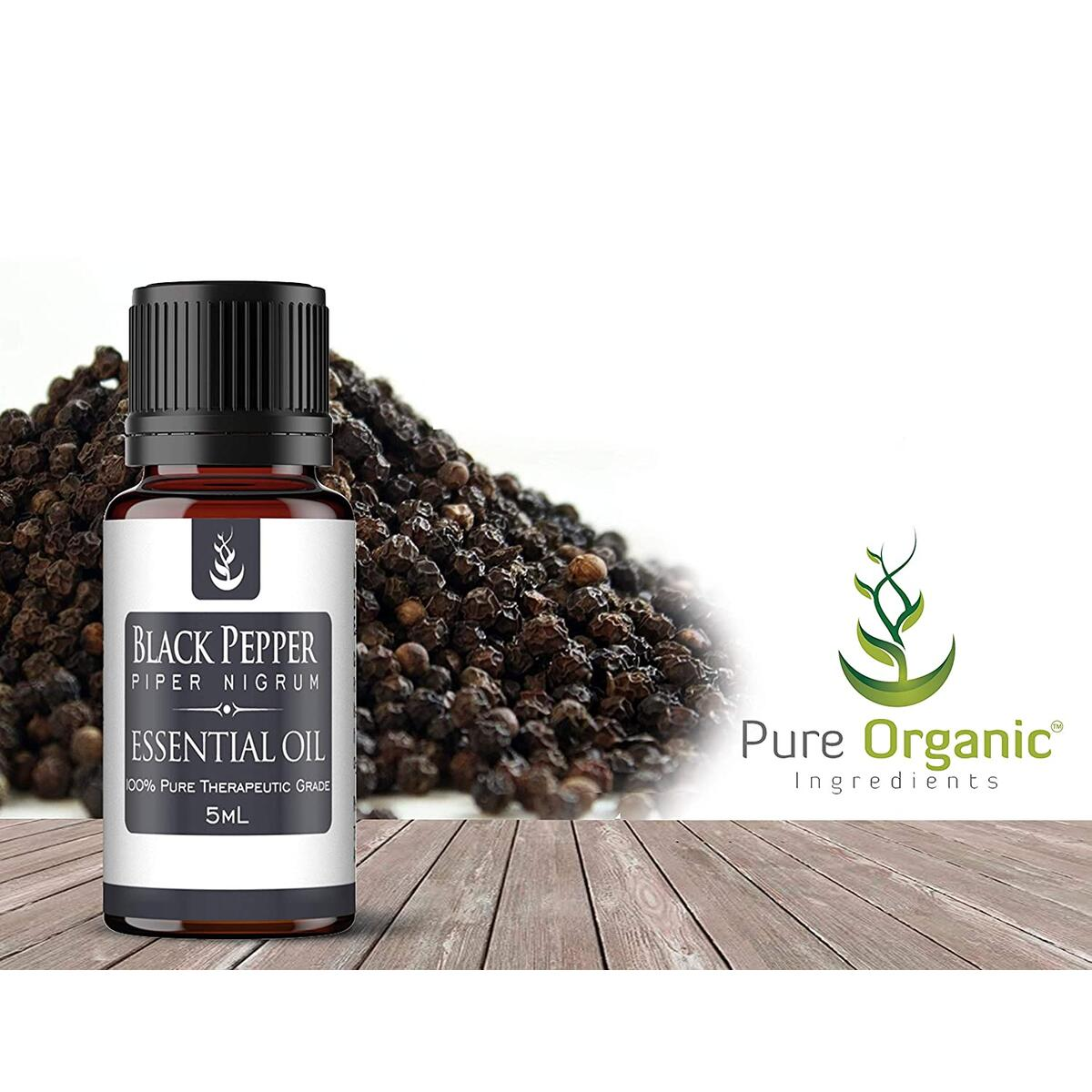 Black Pepper Essential Oil (5 ml) by Pure Organic Ingredients, Convenient Dropper Cap Bottle, Cooking Spice, Aids with Anxiety, Spicy Aroma