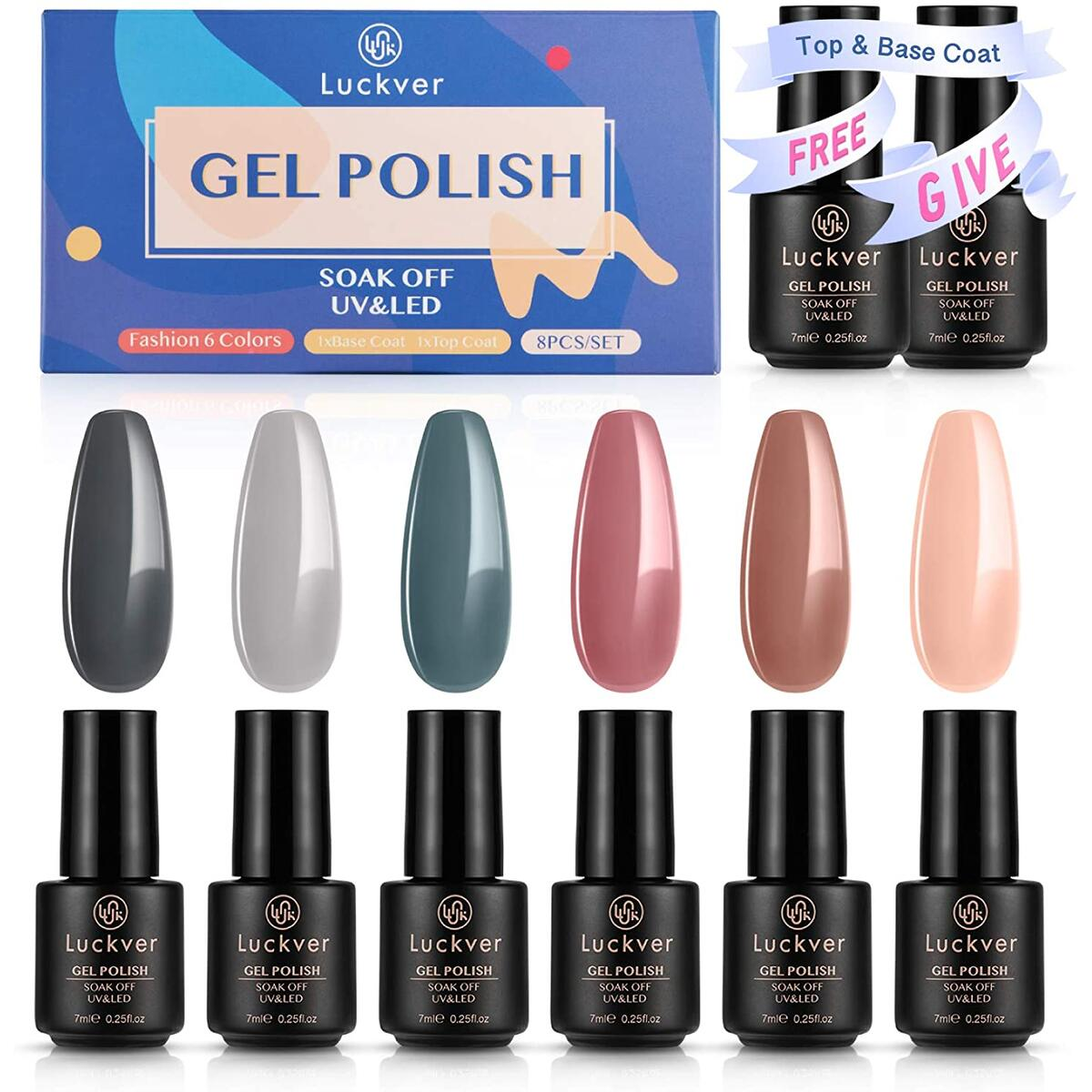 8pcs Gel Nail Polish Set. Nude Gray Pink Classic 6 Colors Nail Gel Polish, Soak Off UV Gel Nail Polish KIt with Glossy Top Coat and Base Coat, Home DIY Manicure Kit Gift Box
