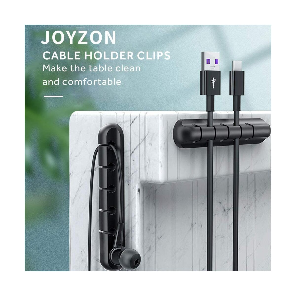 JOYZON Cable Holder Clips, 5-Pack Cable Management Cord Organizer Clips Silicone Self Adhesive Wire Management for Desktop USB Charging Cable Power Cord PC Home, Office, Car (7, 5, 3, 3 and 3Slots)