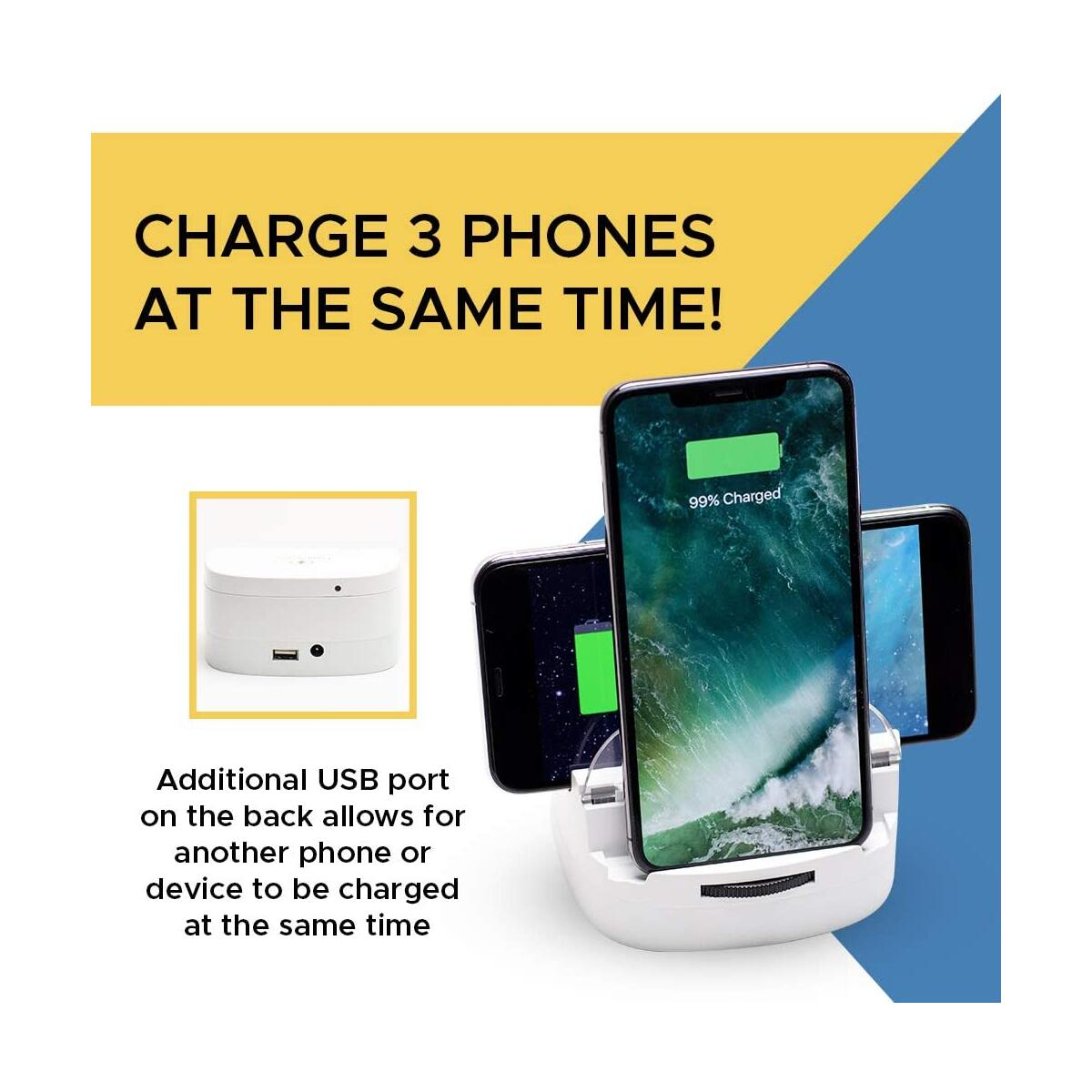Lumicharge Fast Qi Wireless Charger Stand | 10W Qi Certified Wireless Charging Pad and Phone Stand Charging Station Compatible with Apple Products, Samsung, Android | Safely Charges All Phone Models
