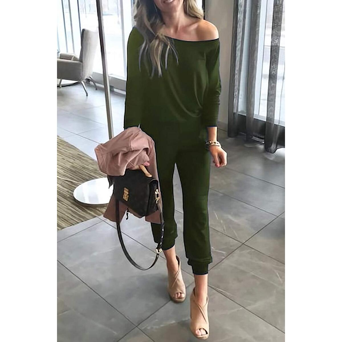 Alelly Women's Off Shoulder 3/4 Sleeve Elastic Waist Beam Foot Jumpsuit Rompers ONLY GREEN