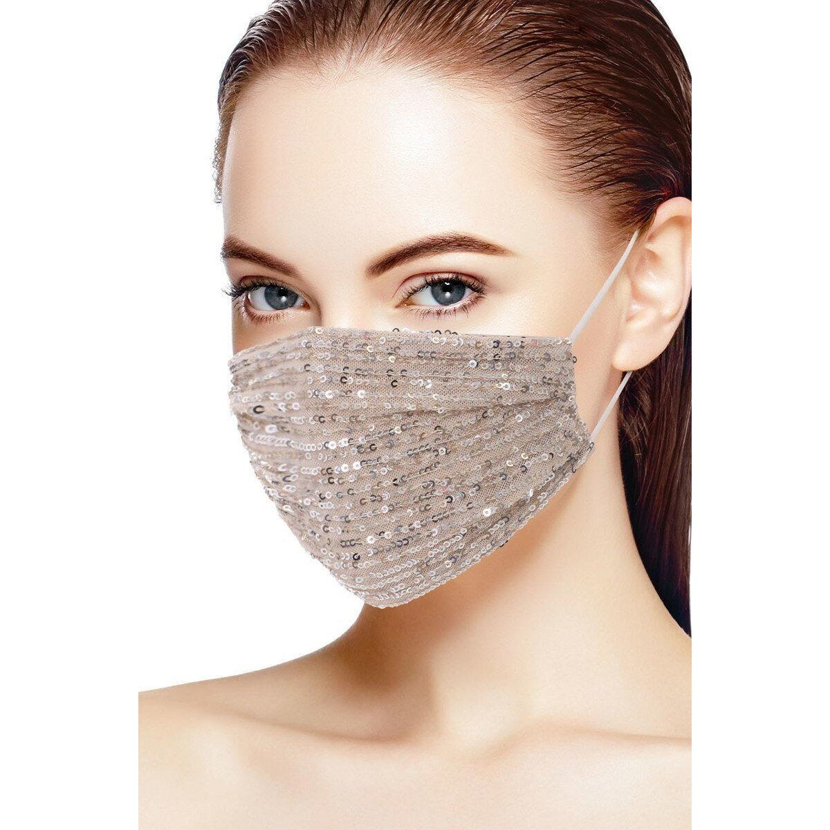 3d Sequin Fashion Facemask, Nude/Silver