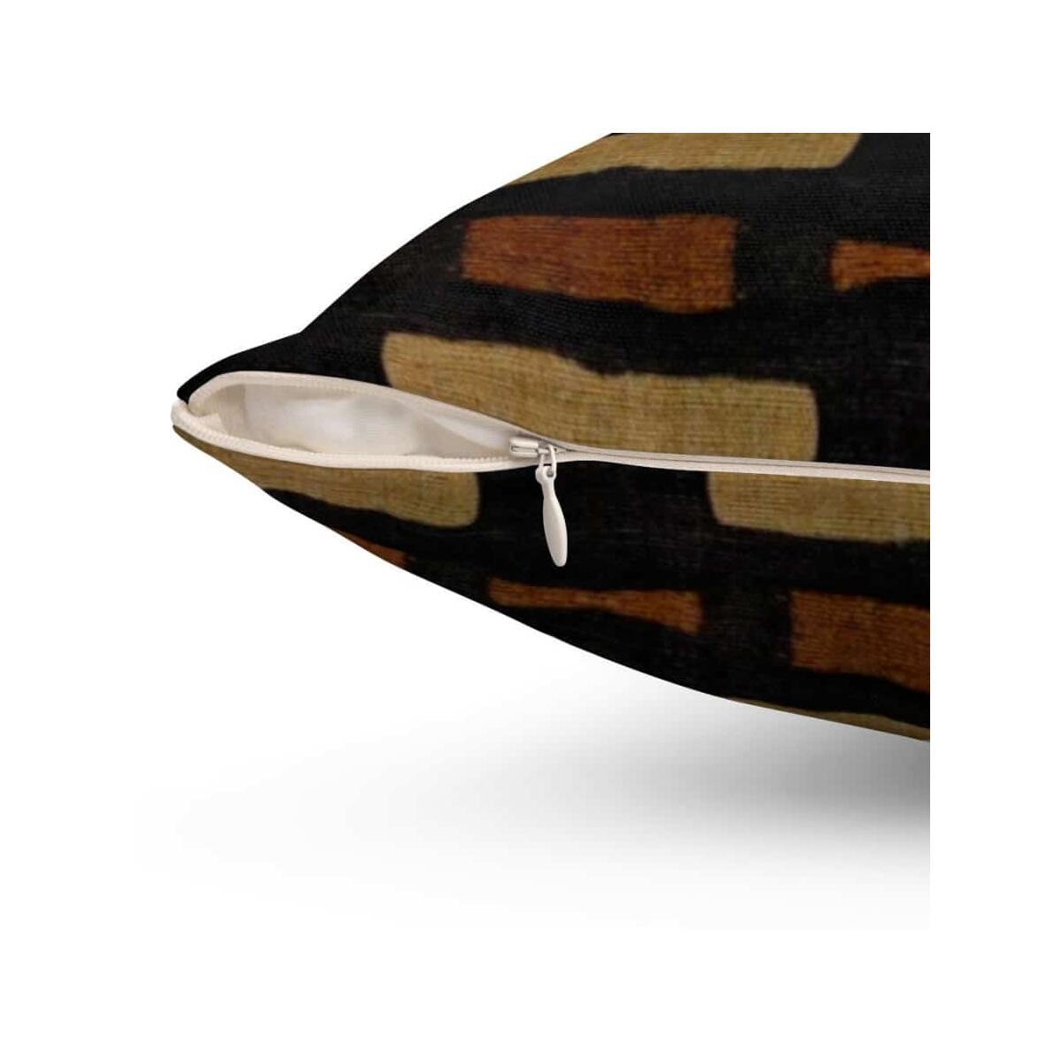 Afrocentric Bogolan Spun Polyester Square Pillow, 14