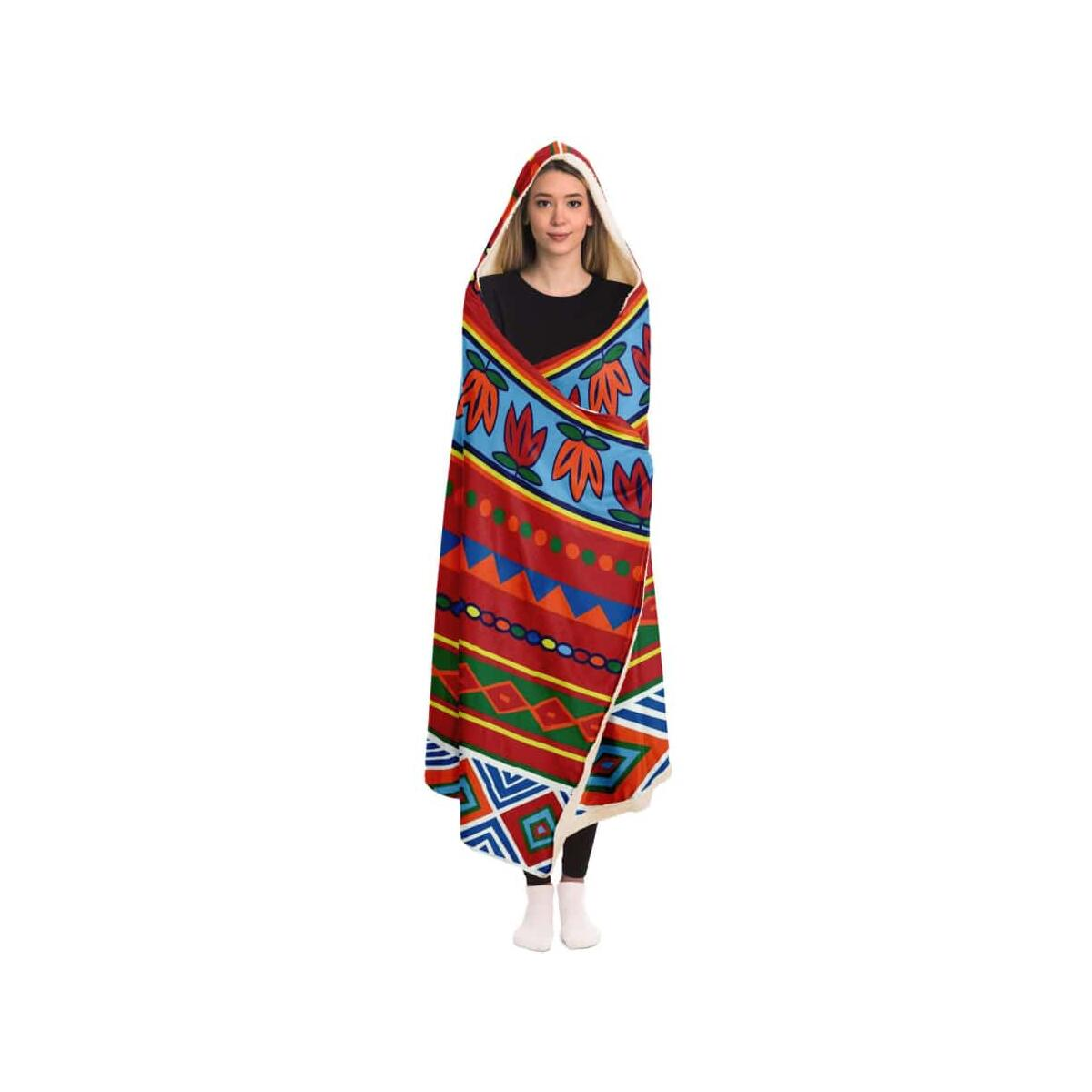 African Lotus Hooded Blanket, Adult / Premium Sherpa