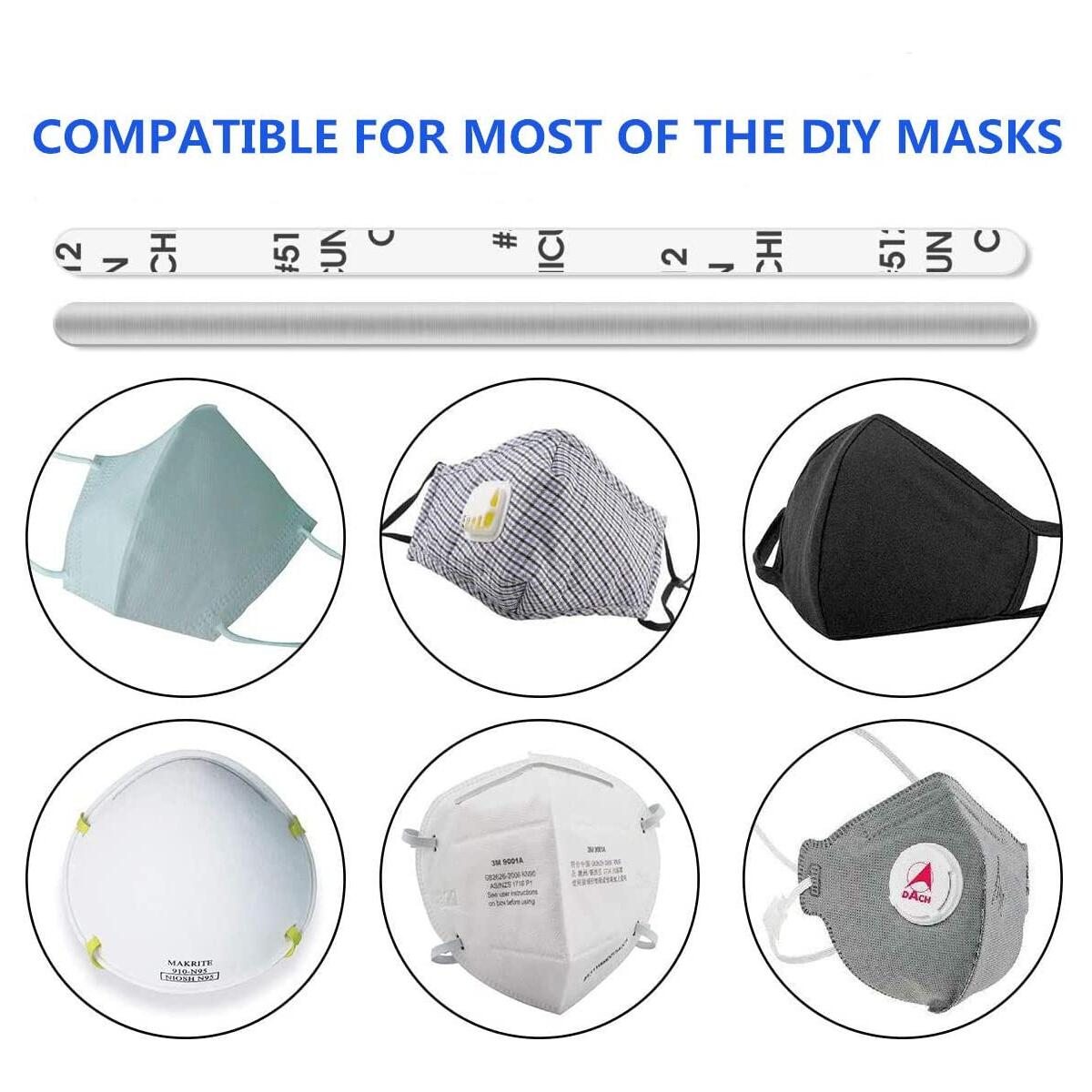 Nose Bridge Strip for Mask, Self Adhesive Aluminum Metal Flat Bar Strip 90MM for Face DIY Making, Adjustable Nose Clips Mask Wire Mouth Cover Making Accessories for Sewing Crafts(100PCS)