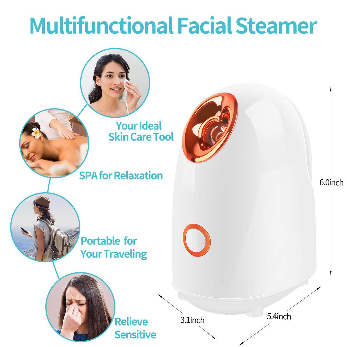 Sunrich Facial Steamer Face Humidifier Warm Mist Portable Facial Steam for Face Moisturizing Deep Cleaning Pores Sauna Spa Sinuses for Women and Man (White)
