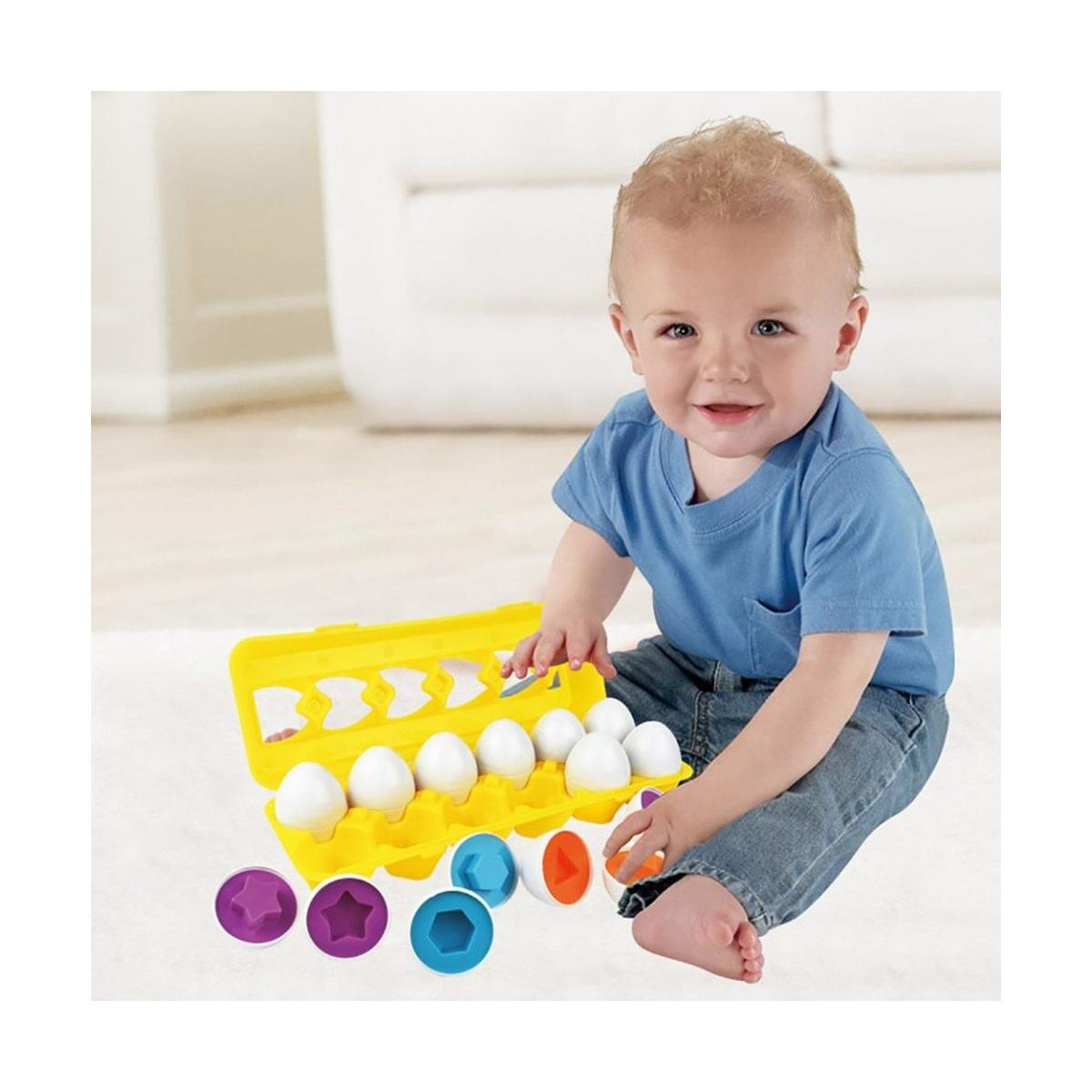 Easter Matching Eggs Gift for Toddlers  Educational Color & Shape Recognition Sorter Puzzle Skills Study Toys