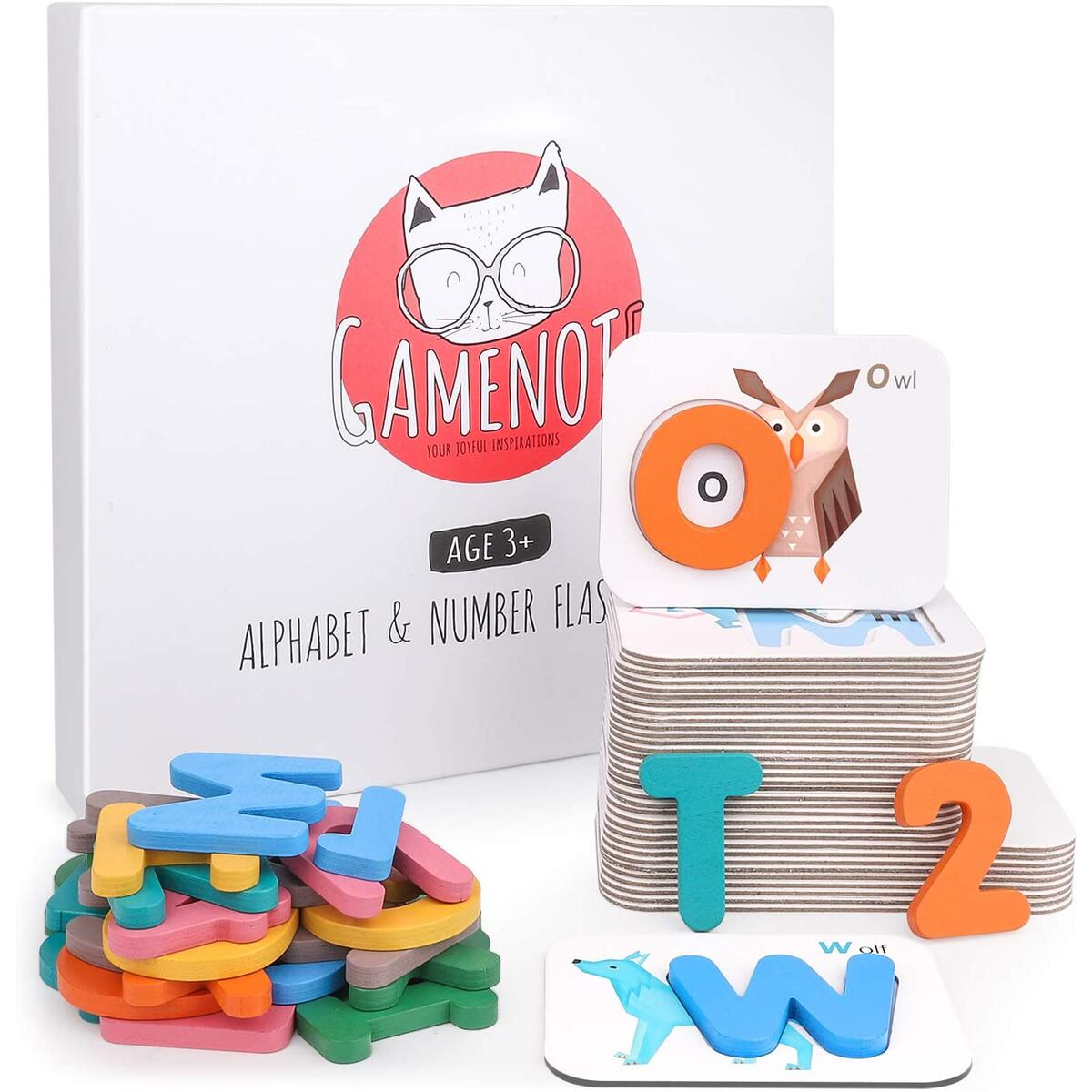 Gamenote Alphabet and Numbers Flash Cards - Wooden ABC Letters Matching Puzzle Game Montessori Toys for Toddlers Educational Activities Preschool Learning