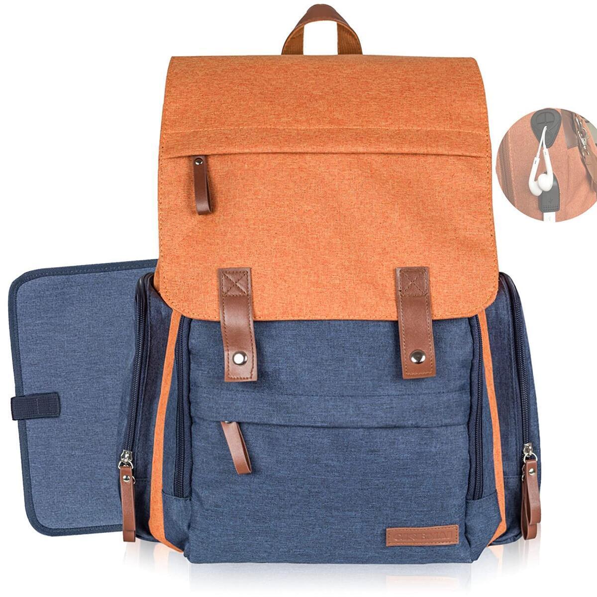 GISEMAI Diaper Bag Backpack   Maternity Bag   Diaper Backpack for Baby Shower Registry   Diaper Bags for Baby Girl & Baby Boy Stuff   Mommy Bag & Dad Diaper Bag (Tile Red & Navy Blue)