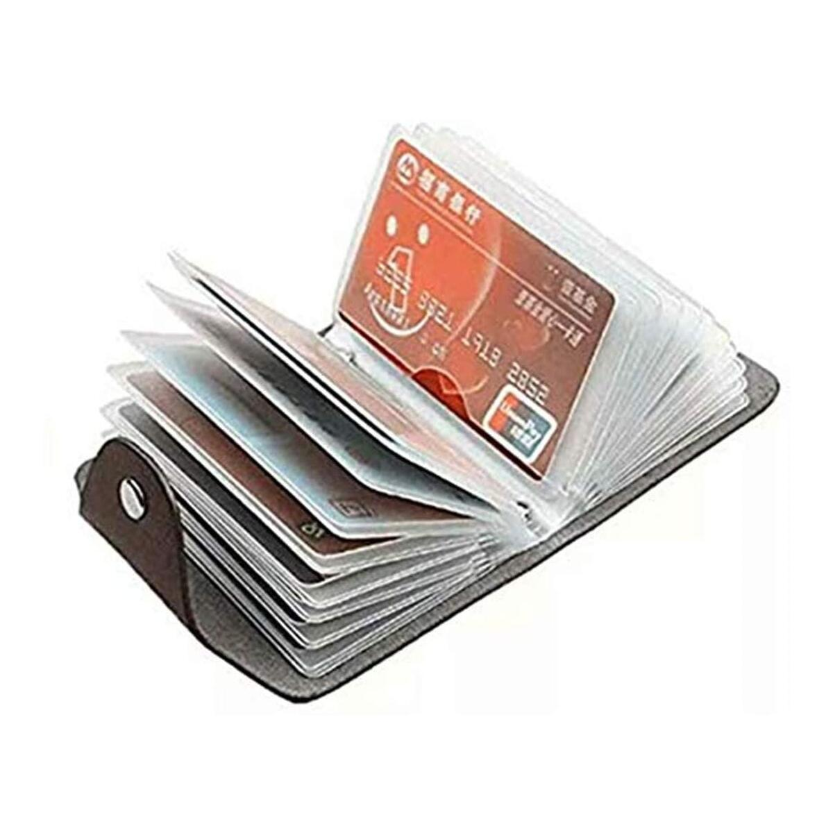 Leather Minimalism Card Holder Small Credit Card Organizer Small Card Holder Card Cases 24 Card Position(Black)