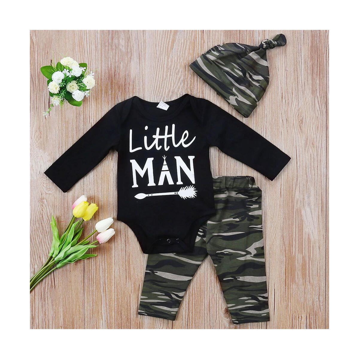 Newborn Baby Boy Clothes Little Man Romper Top Pants Hat Long Sleeve Outfits Set
