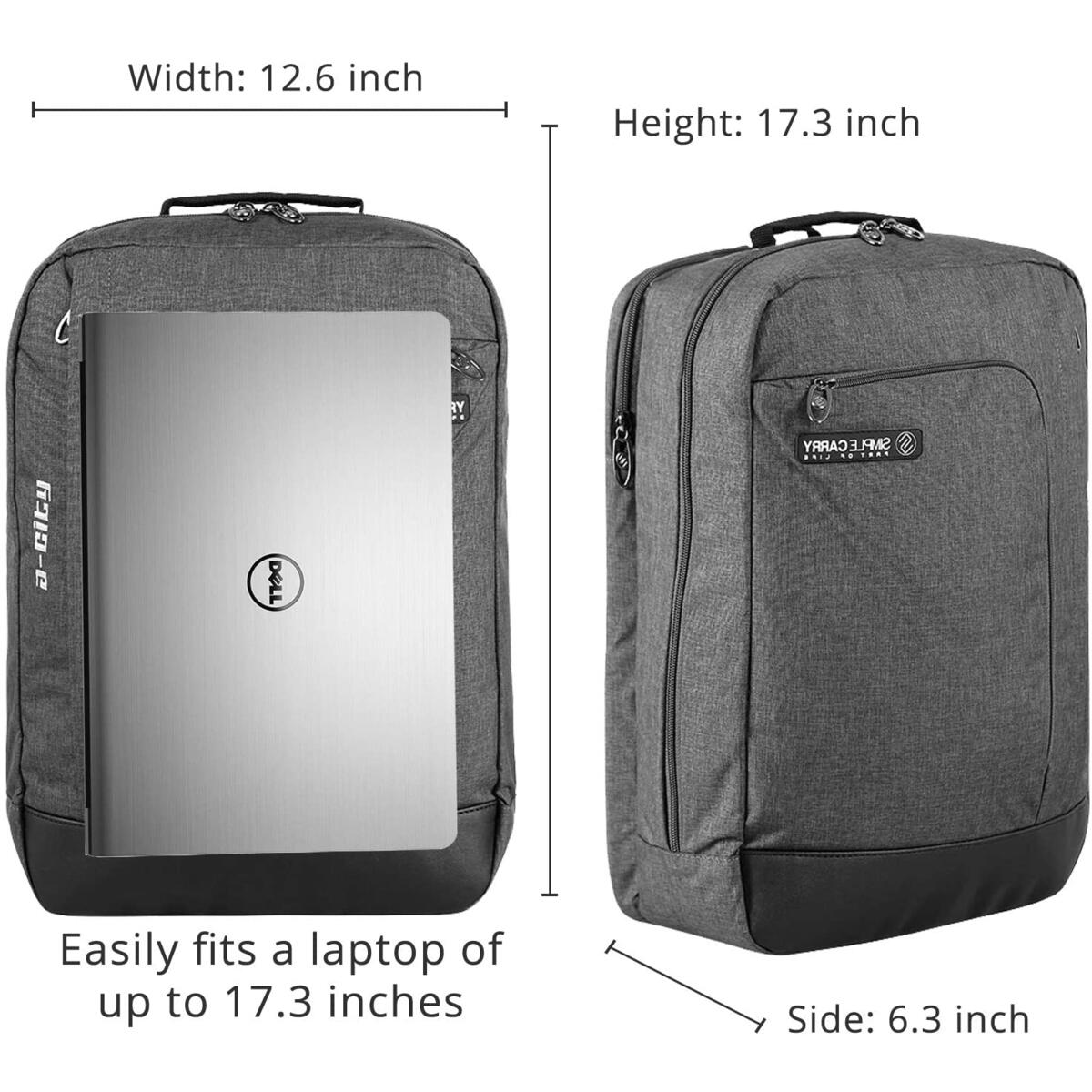 SimpleCarry Travel Shockproof Laptop Compartment Business College Backpack Water Resistant Casual & Durable Bag for Men & Women (Grey) (17.5 inch laptop compartment)