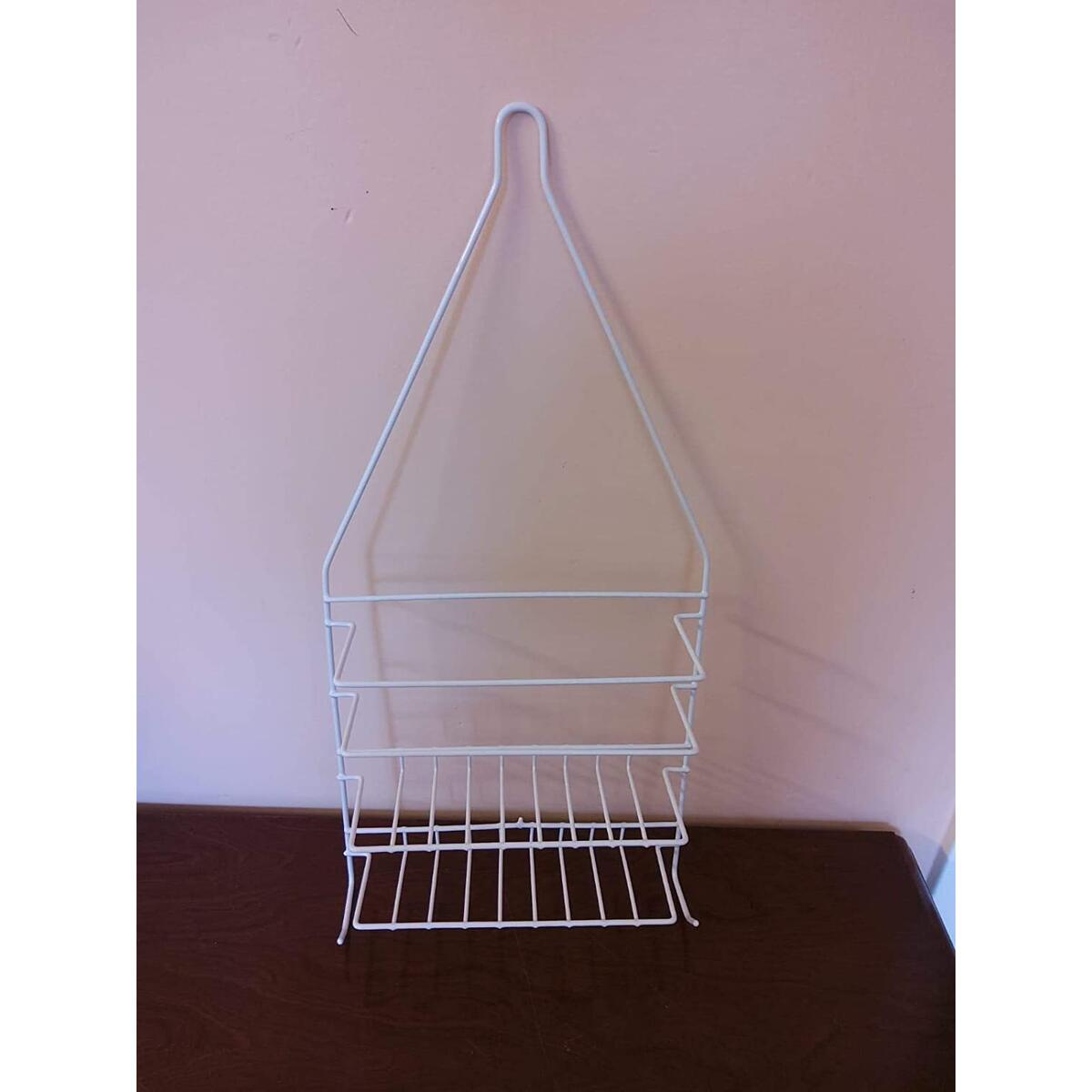 Shower Caddy Small - Hanging Shower Caddy with Sleek Design - Wired Shower Caddy with White Plastic Covering Rustproof Easy to Wash - Over the Shower Caddy Organizer with Hooks & 2 Tiers - 18