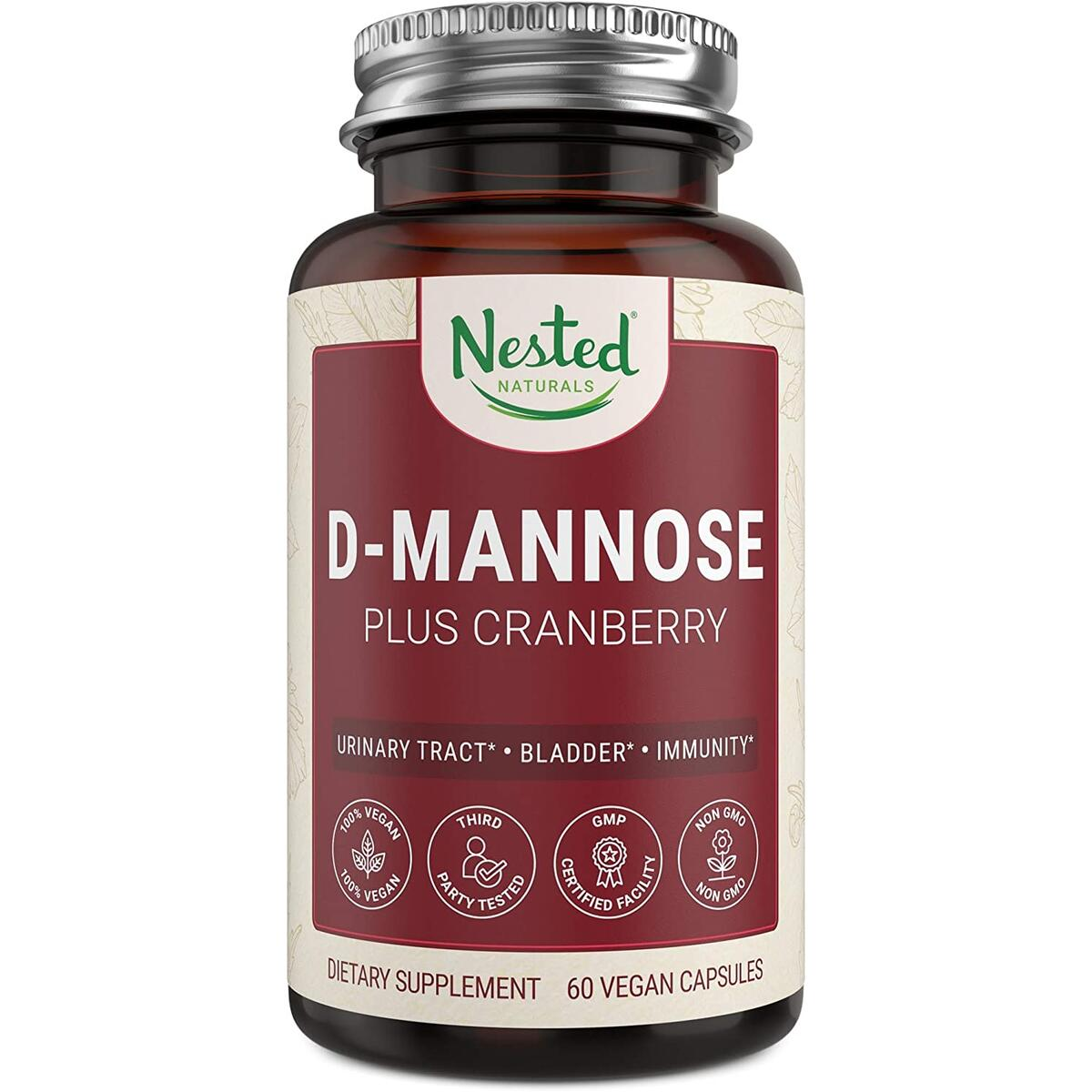 Nested Naturals D-Mannose 500 mg Supplement with Cranberry Extract | Urinary Tract & Bladder Health