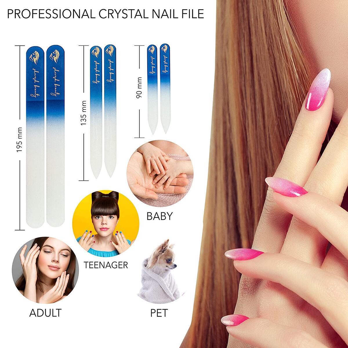 Sheresh Beauty Professional GLASS NAIL FILE AND BUFFERS Set Tools of 14 PCS, 6 Rectangular Nail Buffer Polisher Sanding Block, 6 Premium Crystal Nail File for Acrylic nails, 2 fingernail Nail Brush