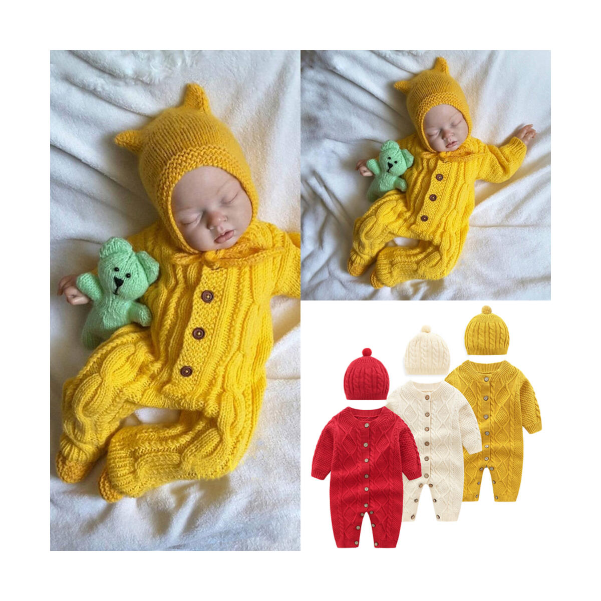 Knitted Newborn Baby Clothes Romper with Hat Infant for Kids Cotton Toddler Jumpsuit