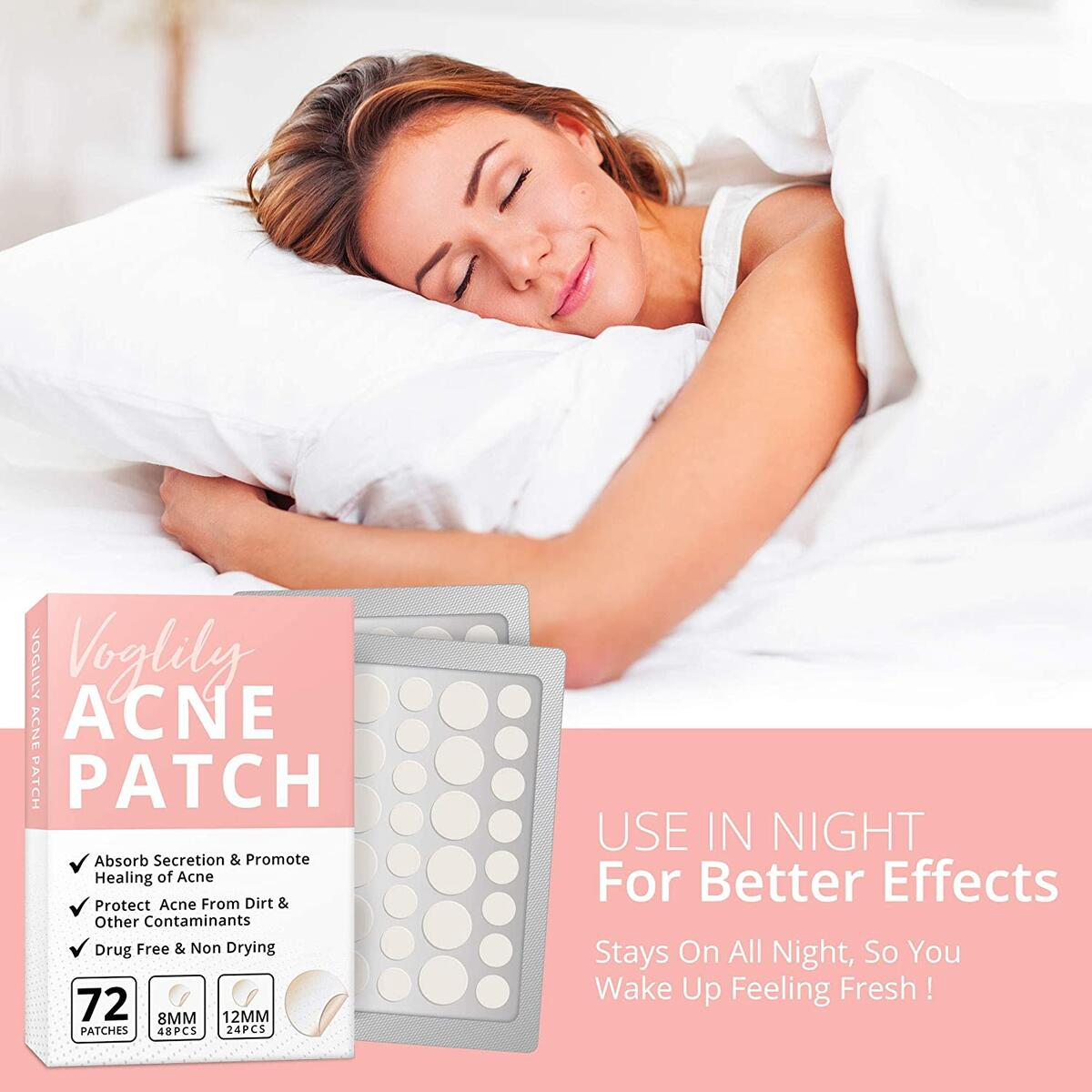 Acne Pimple Healing Patch 72 dots-Absorbing Hydrocolloid Spot Dots, Invisible, Blemish Spot, Skin Treatment, Facial Stickers, Two Sizes, Blends in with skin