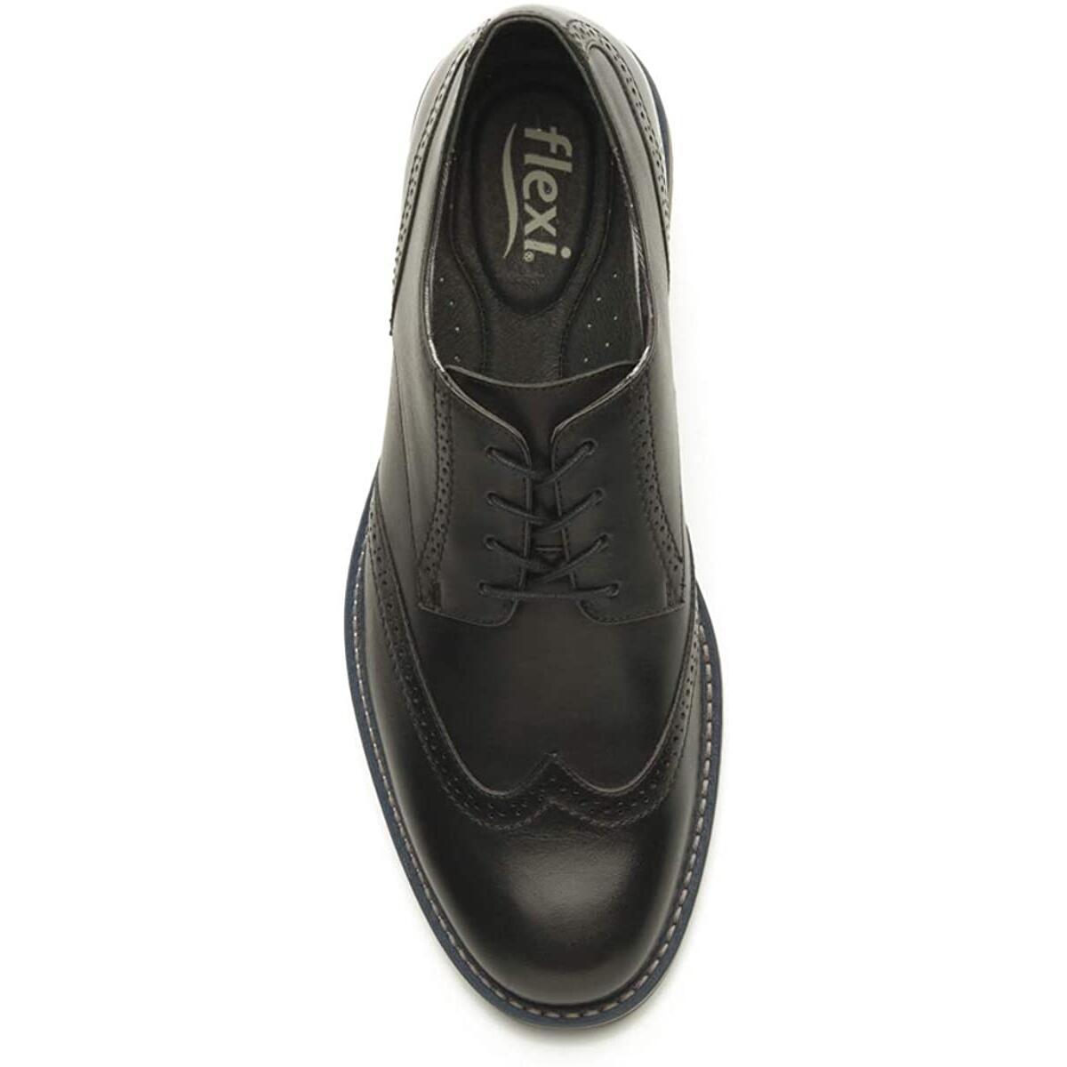 Flexi Jeremy Men's Genuine Leather Four Eyelet Classy Lace Up Dress Shoe |