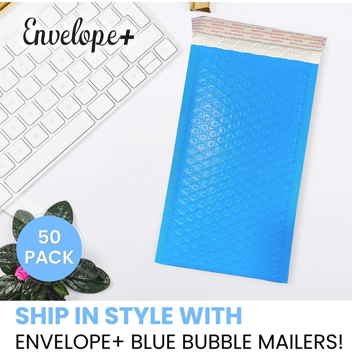 Envelope+ 50pcs Blue Bubble Mailers 6x10 (inside 5.25x10) Padded Poly Mailing Shipping Envelopes Waterproof, Self Seal, Safe (inside 5.25x10)
