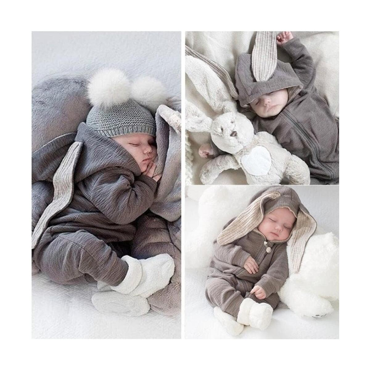 Newborn Baby Jumpsuit Outfit Hoody Cartoon Coat Winter Infant Rompers Toddler Clothing Bodysuit