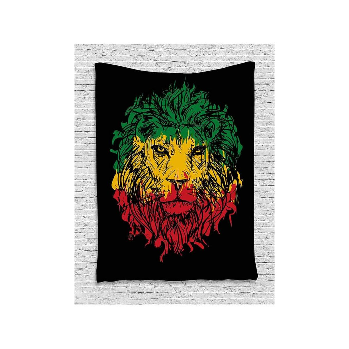 Calico lion headband black background wall hanging suitable for bedroom living room dormitory light, 150x100cm
