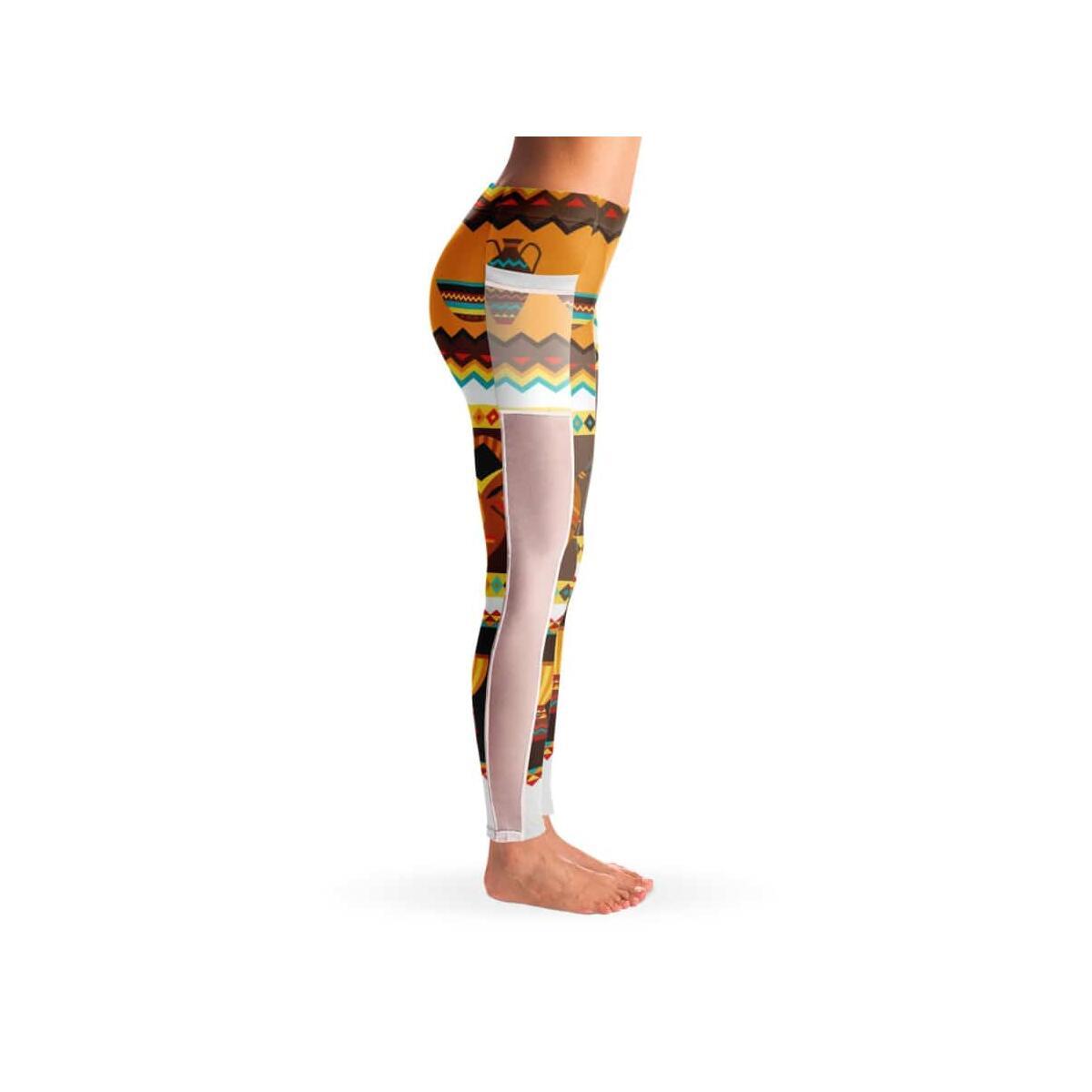 African Djembe Masks Mesh Pocket Legging, S