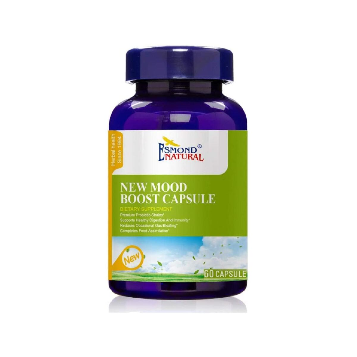 (5 Count, 25% Off) Esmond Natural: New Mood Boost Capsule (Supports Healthy Digestion & Immunity), GMP, Natural Product Assn Certified, Made in USA-300 Capsules